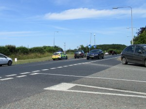 Two cars involved with a traffic accident on Friday afternoon.