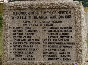 The names of the men of Necton who fought but did not return from the Great War and World War 2