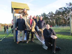 From left to right: Cllr Phil Hayton, Parish Clerk Gabbie Joyce, Cllr Frank Woodward, Breckland Cllr Nigel Wilkin, Community Centre Caretaker Mark Jennings and Cllr David Matthews, Chairman of the Parish Council.